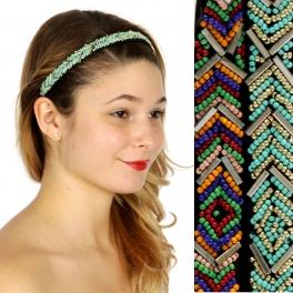 Wholesale M04D Chevron pattern beaded Headband Dozen