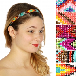 Wholesale M04D Geometric Pattern Bead Weave Headband Dozen