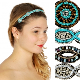 Wholesale M04D Assorted bead embroidered Headband Dozen