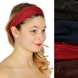Wholesale M04D Solid color faux suede Headband Dozen