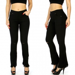 Wholesale C06B Fringed bell bottom pants Black
