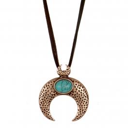 Wholesale M28B Turquoise & crescent moon pendant necklace CB