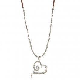 Wholesale M28B Heart pendant necklace w/ metal pebble & faux suede string SB