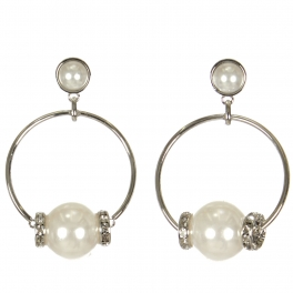 Wholesale WA00 Faux pearl & rhinestone hoop earrings RWT