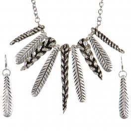 Wholesale WA00 Feather & braids necklace set SB