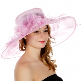 Wholesale TX10 Blossom & ribbon solid organza hat Lavender