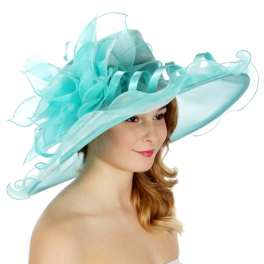 Wholesale BX00 Shiny organza flower & feather hat Mint