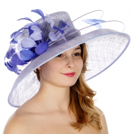 Wholesale TX10 Sinamay down brim quil and feather trim hat Blue/Blue
