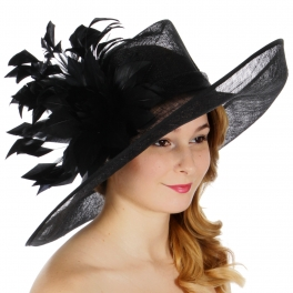 Wholesale BX00 Flower & feather trim sinamay hat Black