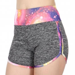 Wholesale E44A Galaxy print heathered active shorts Blue
