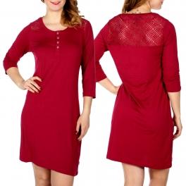 Wholesale D66 Diamond crochet back insert nightshirt Red