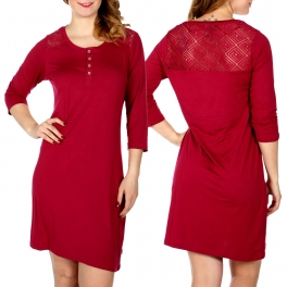 Wholesale D66 Diamond crochet back insert nightshirt Red