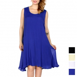 Wholesale K45D Solid simple poly gauze sleeveless dress