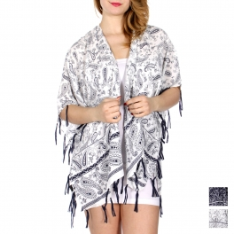 Wholesale I34D Horizontal paisley print short ruana w/ tie up fringe