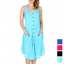 Wholesale M27A Button down solid short dress w/ pockets
