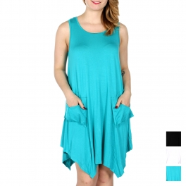 Wholesale K70E Knit short solid dress with pockets