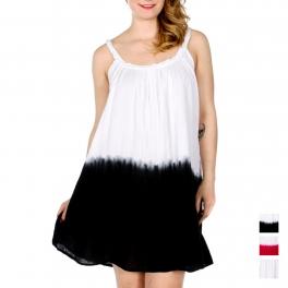 Wholesale K32C Dip Dye Cotton Dress w/ Braided Neck