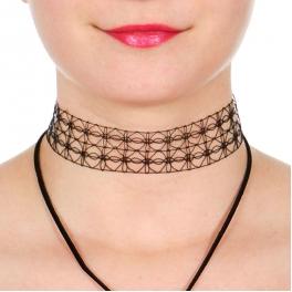 Wholesale WA00 Cage choker & suede Y necklace set GDBLK