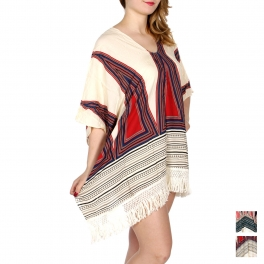 Wholesale I34D Triangles & dots coverup top w/ woven fringe