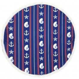 Wholesale S20B Seashell & stripes round beach blanket/yoga mat w/ fringe