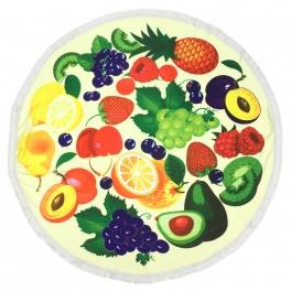Wholesale S20B Fruits round beach blanket/yoga mat w/ fringe