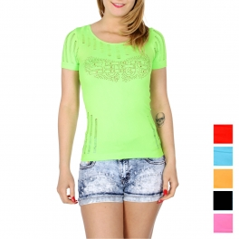 Wholesale O07A SEXY eyelet t-shirt