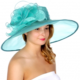 Wholesale TX10 Large flower dress hat Light Blue