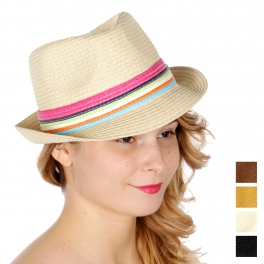 wholesale V05C Solid summer fedora w/ multiful color band