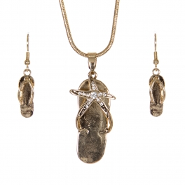 Wholesale WA00 Vintage starfish flip-flop necklace earrings set GD