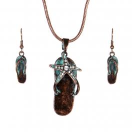 Wholesale WA00 Vintage starfish flip-flop necklace earrings set OG