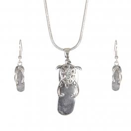 Wholesale WA00 Shine starfish flip-flop necklace earrings set SV