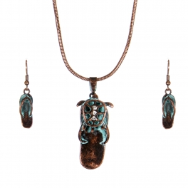 Wholesale WA00 Shine starfish flip-flop necklace earrings set OG