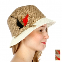 wholesale V54BX32 3 feather bow fedora hat Natural/Brown