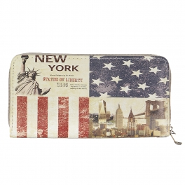 Wholesale P13B New york print zip around wallet