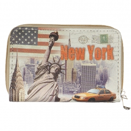 Wholesale P13B New york print zipper W/ wristlet Strap purse