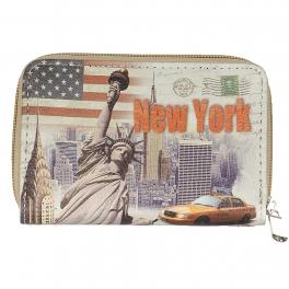 Wholesale P13B New york print zipper W/ wristlet Strap purse