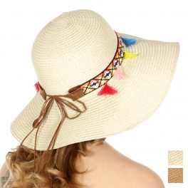 Wholesale V53D Tribal band & tassel floppy sun hat