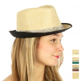 wholesale W33 Paper fedora with faux diamond band Black