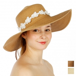 Wholesale V04B Floral Crochet Floppy Hat Beige