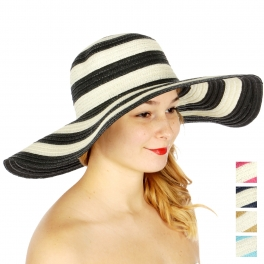 Wholesale V72B Striped two tone floppy sun hat Black