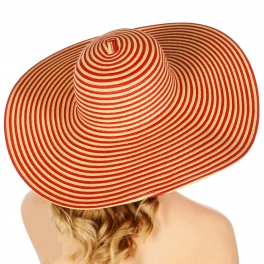 Wholesale V81 Wide brim striped floppy hat Black