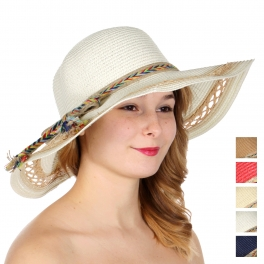 Wholesale V85B Colorful chevron band woven straw floppy sun hat
