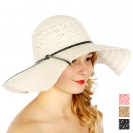 Wholesale V52A Crochet floppy hat w/ faux leather ribbon Black