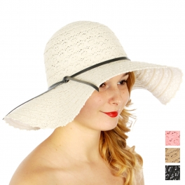Wholesale V52A Crochet floppy hat w/ faux leather ribbon Black