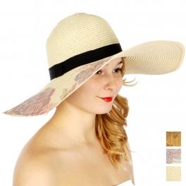 Wholesale V53A Floral print brim floppy sun hat Beige