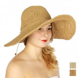 Wholesale V01B Bendable floppy sun hat w/ straw ribbon Beige