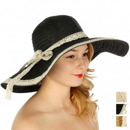 Wholesale V50D Lace trimmed floppy sun hat w/ lace band Beige