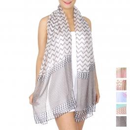 Wholesale H35A Chevron & geometric print scarf