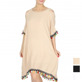 Wholesale G39E Cold shoulder short dress w/ colorful tassels
