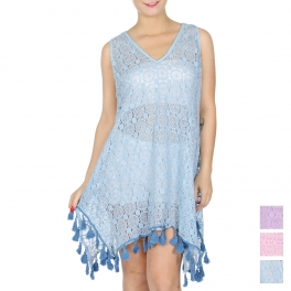 Wholesale G30B Cotton lace sleeveless cover up w/ tassels